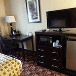 TV with mircowave and mini fridge; desk area