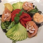 Smoked salmon and prawns salad