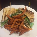 Fried Chicken Salad Sandwich with sweet potato fries - delicious.