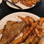 Grilled cheese on crazy good bread with tempura sweet potato fries
