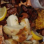 Big pan of goodness :) This had about 20 shrimp. 4 ears of corn, potatoes and sausage.