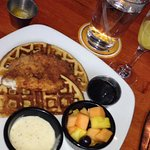 Chicken & Waffles ~ chicken pan grilled to tender perfection