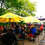 Our patio with thirsty golfers.