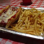 Meatball sandwich---and French fries...An odd combo, but both tasted great!