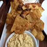 Duck wings and bannock and naan with dips
