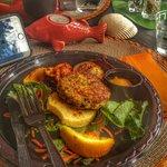 Delicious Grouper Fishcake Special, organic coffees, organic veggies to buy & take home, serene