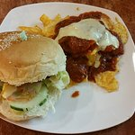 Burger with nachos special. $8 including a coke and desert