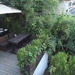 Outdoor breakfast area and garden view