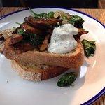 Wild mushroom, spinach with chervil creme fraiche on sourdough