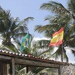 Bandeira da Espanha e do Brasil.