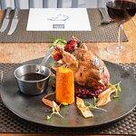 Roast grouse, sweet potato fondant, braised red cabbage