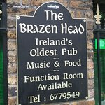 The sign to welcome you to The Brazen Head