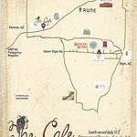 small map from cafe of wineries