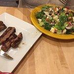 Greek salad with steak on the side