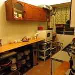 Kitchen area next to the Satsanga room