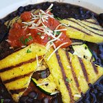 Black beans with polenta and eggplant & tomato.