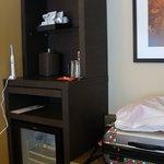 Room 642 mini fridge, coffee, etc