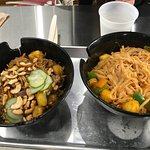 wheat noodles left - rice noodles right