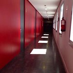 Red hallway to the dorms