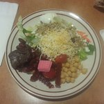 Salad plate with brownie and wafer cookie
