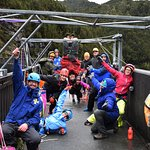 One crazy bunch of people about to do the 140mt abseil.