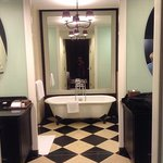 The bathroom with twin sinks
