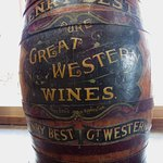 One of the wine barrels in the barn