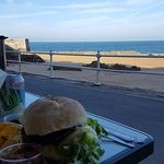 Delicious burger in a wonderful setting