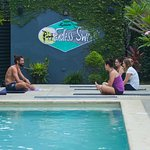 Yoga classes by the pool. Definitely do these!