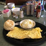 Alice's Omelette very good, grits and biscuit.