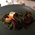oven-roasted wood pigeon - cannot remember exactly what else but it was a delicious berry sauce