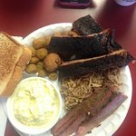 3 meat platter. Ribs, sliced brisket and pulled pork with potato salad and fried okra.