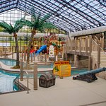 Enjoy the indoor waterslides, water feature and swimming pool