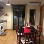 The kitchen/dining area of the apartment