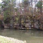 Natural bluffs & fun stone paths to cross creek