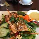 Yummy Salmon Walnut Salad with Ginger Dressing