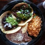 My lunch! Carne Asada taco's combination plate! YUMMY!!
