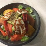 The Fennel Seed Roasted Vegetable Salad with grilled Halloumi