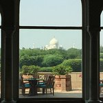 View of Taj Mahal from ground floor lounge