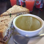 Pea Soup and sandwich