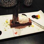 Chocolate halva cake with ice cream