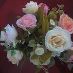 Welcoming (plastic) flowers