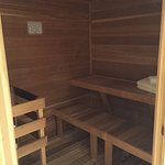 Spacious sauna in spa suite