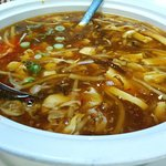 Hot and sour soup with duck meat