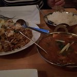 Lamb Biryana and Indian house curry, exrta hot with chicken.