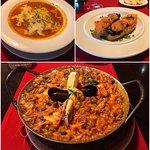 Barcelona soup, tapas with salmon and Barcelona paella