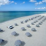 Beautiful new beach umbrellas and chairs overlooking the Gulf of Mexico