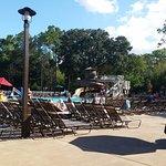 Pool area - very nice, lots of chairs, waterslide, snack bar