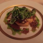 Fois gras with apples appetizer