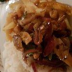 Sizzling chicken and prawns in black bean sauce